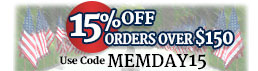 Get 15% OFF order over $150 with code MEMDAY15