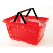 Red - Heavy Duty **Jumbo** - Hand Held Shopping Basket With Plastic Handles ( 1 Pc )
