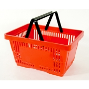 Red - Heavy Duty **Standard** - Hand Held Shopping Basket With Plastic Handles ( 1 Pc )
