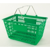 Green - Heavy Duty **Jumbo** - Hand Held Shopping Basket With Chrome Handles ( 1 Pc )
