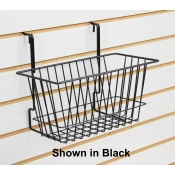 Narrow Universal Basket for Pegboard, Gridwall and Slatwall (White)