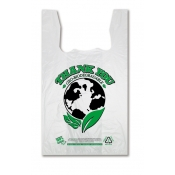 "White Biodegradable Plastic Bags |  Eco-Oxo ""Thank You"" T-Shirt Bag  (12 X 7 X 21)"