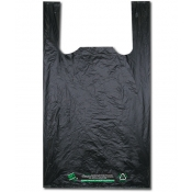 Black ECO-FRIENDLY plastic t-shirt bag made with 100% Degradable Plastic