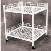 (White) 2-Tier Mobile Merchandiser Table