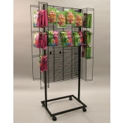 (Black) 4-Sided Mobile Power Wing Rack