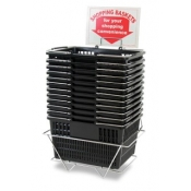 Black Standard-Size Shopping Baskets with Chrome Handles (Set of 12)