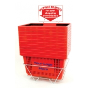 Custom Shopping Baskets (12 Basket Set) Red Jumbo-Size, Heavy-Duty, Shopping Baskets/Plastic Handles