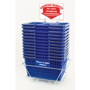 Custom Shopping Baskets (12 Basket Set) Blue Standard-Size, Heavy-Duty, Shopping Baskets/Chrome Handles