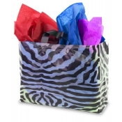Large Zebra Print Transparent Plastic Shopping Bags (Box of 100)