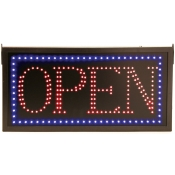 Rectangular Open Sign with Blue and Red LED Lights