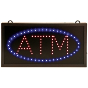 Illuminated LED ATM Sign with Blue and Red Lights