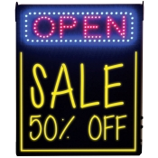 Combination LED Open Sign plus Backlit Writing Board with Marker