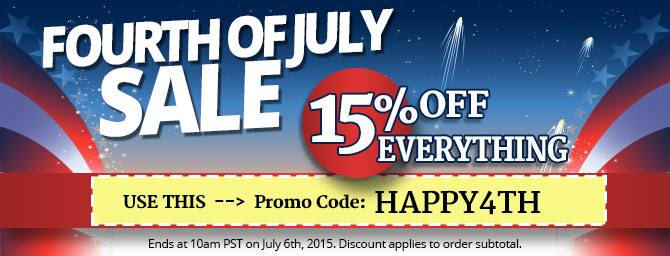 Get 15% OFF all orders with promo code HAPPY4TH