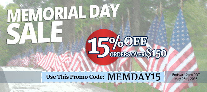 Get 15% OFF orders over $150 with code MEMDAY15