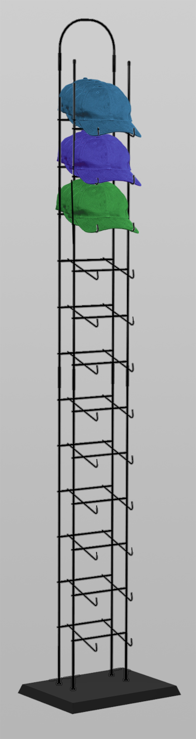 Black 12 Tier Tower Hat Rack