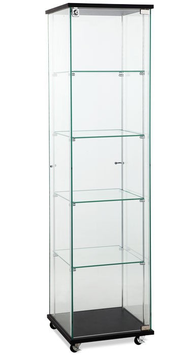 Square Glass Showcase Tower Display Black
