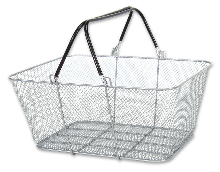 Wire Mesh Shopping Baskets (Set of 12, White) | TsiSupplies.com
