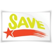 "25"" X 15"" Static Cling ""Save"" Sign"