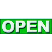 3X10 Banner- Open (Green/White)