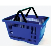 Blue - Heavy Duty **Jumbo** - Hand Held Shopping Basket With Plastic Handles ( 1 Pc )