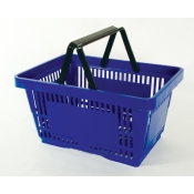 Blue - Heavy Duty **Standard** - Hand Held Shopping Basket With Plastic Handles ( 1 Pc )