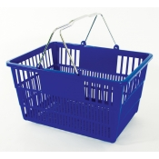 Blue - Standard Plastic - Hand Held Shopping Basket With Chrome Handles ( 1 Pc )