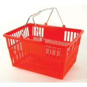 Red - Standard Plastic - Hand Held Shopping Basket With Chrome Handles ( 1 Pc )