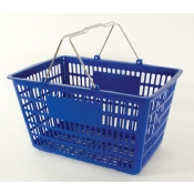 Blue - Heavy Duty **Jumbo** - Hand Held Shopping Basket With Chrome Handles ( 1 Pc )