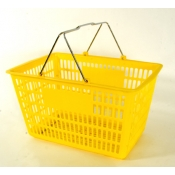 Yellow - Heavy Duty **Jumbo** - Hand Held Shopping Basket With Chrome Handles ( 1 Pc )