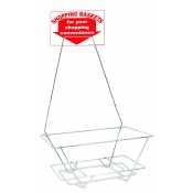 Chrome - Universal Hand Held Shopping Basket Rack & Sign