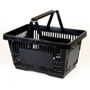 Black Standard-Size Shopping Basket with Plastic Handles ( 1 Pc )
