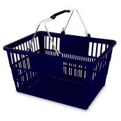 Black Standard-Size Shopping Basket with Chrome Handles ( 1 Pc )