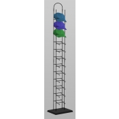 12-Tier Tower Hat Rack in black finish