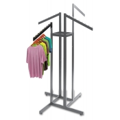 Chrome 4-Way Clothing Rack (4 Slant Arms)