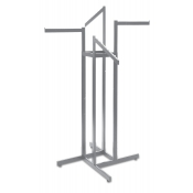 Chrome 4-Way Clothing Rack (2 Straight, 2 Slant Arms)