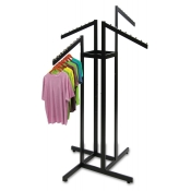 Matte Black 4-Way Clothing Rack (4 Slant Arms)