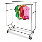 Double Rail Folding Rolling Clothing Rack