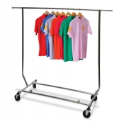 Single Rail Folding Rolling Clothing Rack