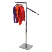Chrome 2-Way Clothing Rack (1 Straight, 1 Slant Arm)