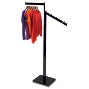 Matte Black 2-Way Clothing Rack (1 Straight, 1 Slant Arm)