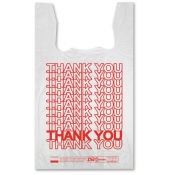 "White ""Thank You"" Plastic T-Shirt Bags Wholesale"