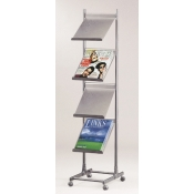 (Silver) 4-Tier Mobile Literature Display