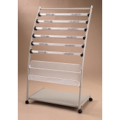 (Silver/White) 6-Tier Newspaper Rack