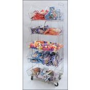 (Chrome)Single Sided Stacking Basket Rack