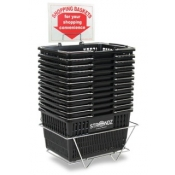 Black Standard-Size Custom Shopping Baskets with Chrome Handles