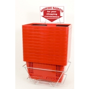 Shopping Baskets (12 Basket Set) Red Standard-Size Shopping Baskets/Plastic Handles