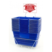 Shopping Baskets (12 Basket Set) Blue Jumbo-Size Heavy-Duty Shopping Baskets/Chrome Handles