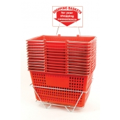 Shopping Baskets (12 Basket Set) Red Jumbo-Size Shopping Baskets/Chrome Handles