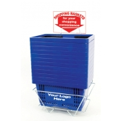 Custom Shopping Baskets (12 Basket Set) Blue Standard-Size, Heavy-Duty, Shopping Baskets/Plastic Handles