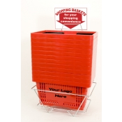Custom Shopping Basket Set (12 Basket Set) Red Standard-Size, Heavy-Duty, Shopping Baskets/Plastic Handles